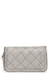 Stella Mccartney 'Falabella' Quilted Faux Leather Crossbody Bag Grey Light Grey