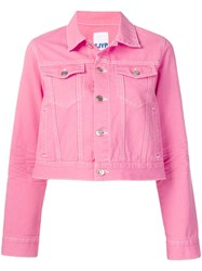Sjyp Cropped Denim Jacket Pink