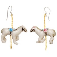 Hop Skip And Flutter Merry Go Round Porcelain Horse Drop Earrings White