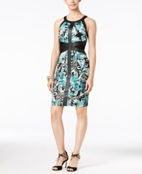Thalia Sodi Faux Leather Trim Sheath Dress Only At Macy's Arabesque