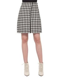 Akris Houndstooth Wrap Skirt Black Moonstone Black Moonstone