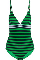 Stella Mccartney Calypso Striped Swimsuit Forest Green