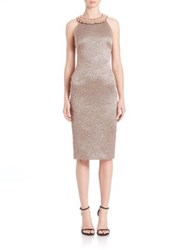 Badgley Mischka Beaded Leopard Print Dress Rose Gold
