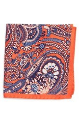 Eton Men's Paisley Silk Pocket Square Yellow Orange