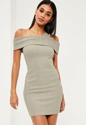 Missguided Green Ribbed Bardot Bodycon Dress