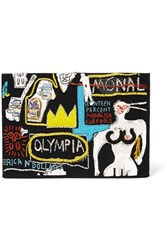 Olympia Le Tan Basquiat Embroidered Cotton And Wool Blend Clutch Black