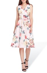 Tahari Floral Print Tie Waist Fit And Flare Dress Blush Lemon Coral