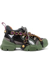 Gucci Flashtrek Embellished Logo Embossed Mesh Forest Green