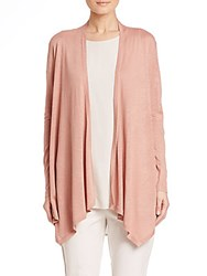 Eileen Fisher Silk And Linen Drape Front Long Cardigan Toffee Cream