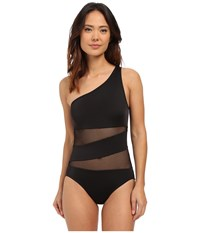 Dkny Mesh Effect Mesh Splice One Shoulder Maillot W Removable Soft Cups Black Women's Swimsuits One Piece