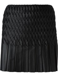 Jay Ahr Wavy Pleated Mini Skirt Black
