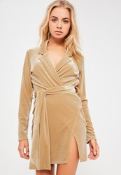 Missguided Nude Velvet Wrap Blazer Dress Champagne
