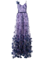 Marchesa Notte Floral Tulle Gown Purple