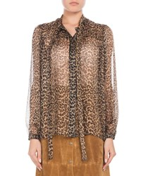 Saint Laurent Long Sleeve Button Down Leopard Print Sheer Silk Blouse With Neckties