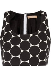Michael Kors Collection Cropped Polka Dot Cotton And Silk Blend Matelasse Top Black