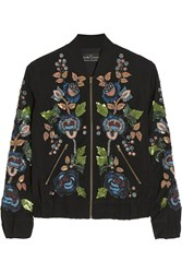 Needle And Thread Embellished Cady Bomber Jacket Black