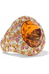 Kenneth Jay Lane Gold Tone Crystal Ring Orange