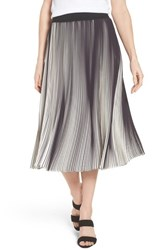 Ming Wang Stripe Pleat A Line Skirt Black White
