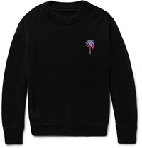 The Elder Statesman Palm Tree Intarsia Cashmere Sweater Black