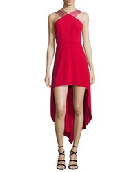 Halston Sleeveless Strappy High Low Dress Carmine