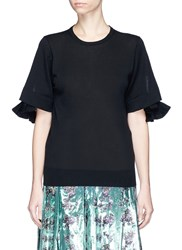 Toga Archives High Gauge Ruffle Sleeve Sweater Black