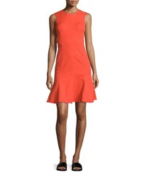 Derek Lam Sleeveless Paneled Fit And Flare Dress Bright Coral