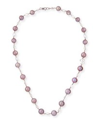 Belpearl Kasumiga Pink Pearl And Moonstone Necklace In 18K White Gold 20