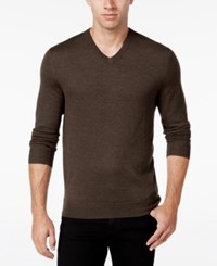 Club Room Men's Big And Tall Merino Wool V Neck Sweater Only At Macy's Dark Taupe Heather