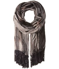 Steve Madden Graphic Tribal Day Wrap With Faux Suede Neutral Scarves