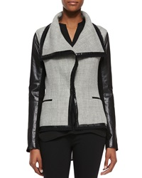 Vince Leather Sleeve Wool Blend Boucle Jacket