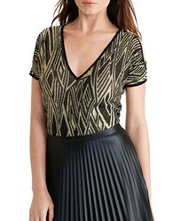 Lauren Ralph Lauren Cutout Shoulder Sweater Black Gold