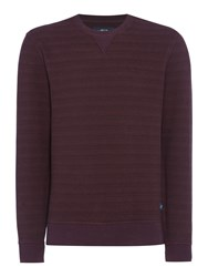 Criminal Men's Aspen Crew Stripe Sweater Burgundy