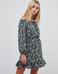 Urban Bliss Bardot Dress With Tie Front Multi