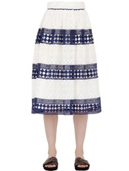 Philosophy Di Lorenzo Serafini Striped Cotton Macrame Skirt