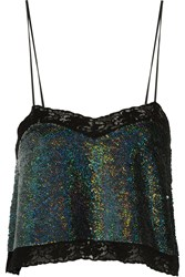 Ashish Lace Trimmed Sequined Silk Georgette Top Blue