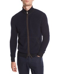 Ermenegildo Zegna Boucle Zip Bomber Sweater With Leather Detail Navy
