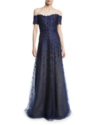 Rene Ruiz Off The Shoulder Lace Gown Blue