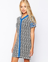 Influence Aztec Printed Dress With Contrast Panel Multi