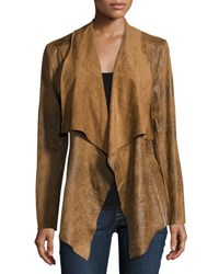 Chelsea And Theodore Faux Suede Draped Jacket Neutral