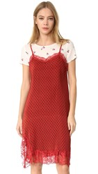 Free People Margot 2Fer Slip Dress Red Combo