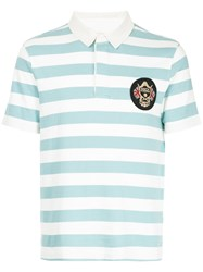 Kent And Curwen Striped Polo Shirt Blue