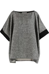 See By Chloe Grosgrain Trimmed Cotton Fleece Top Gray