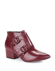 French Connection Roree Monk Strap Leather Booties Zinfandel