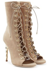 Balmain Lace Up Suede Boots With Metallic Stiletto Heel Beige
