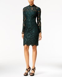 Betsey Johnson Illusion Lace Mock Neck Sheath Dress Hunter Green