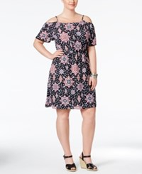 Eyeshadow Plus Size Printed Cold Shoulder Fit And Flare Dress Black Multi
