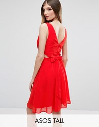 Asos Tall Side Cut Out Mini Dress With Bow Back Detail Orange