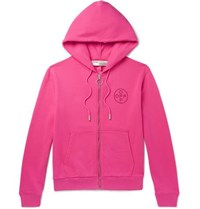 Off White Embellished Loopback Cotton Jersey Zip Up Hoodie Bright Pink