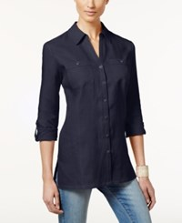 Jm Collection Linen Button Front Tunic Shirt Only At Macy's Intrepid Blue