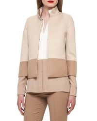 Akris Reversible Colorblock Jacket Camel Ivory